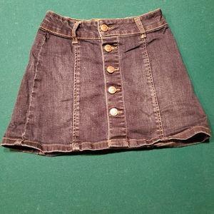 Trendy girls button front a line denim skirt